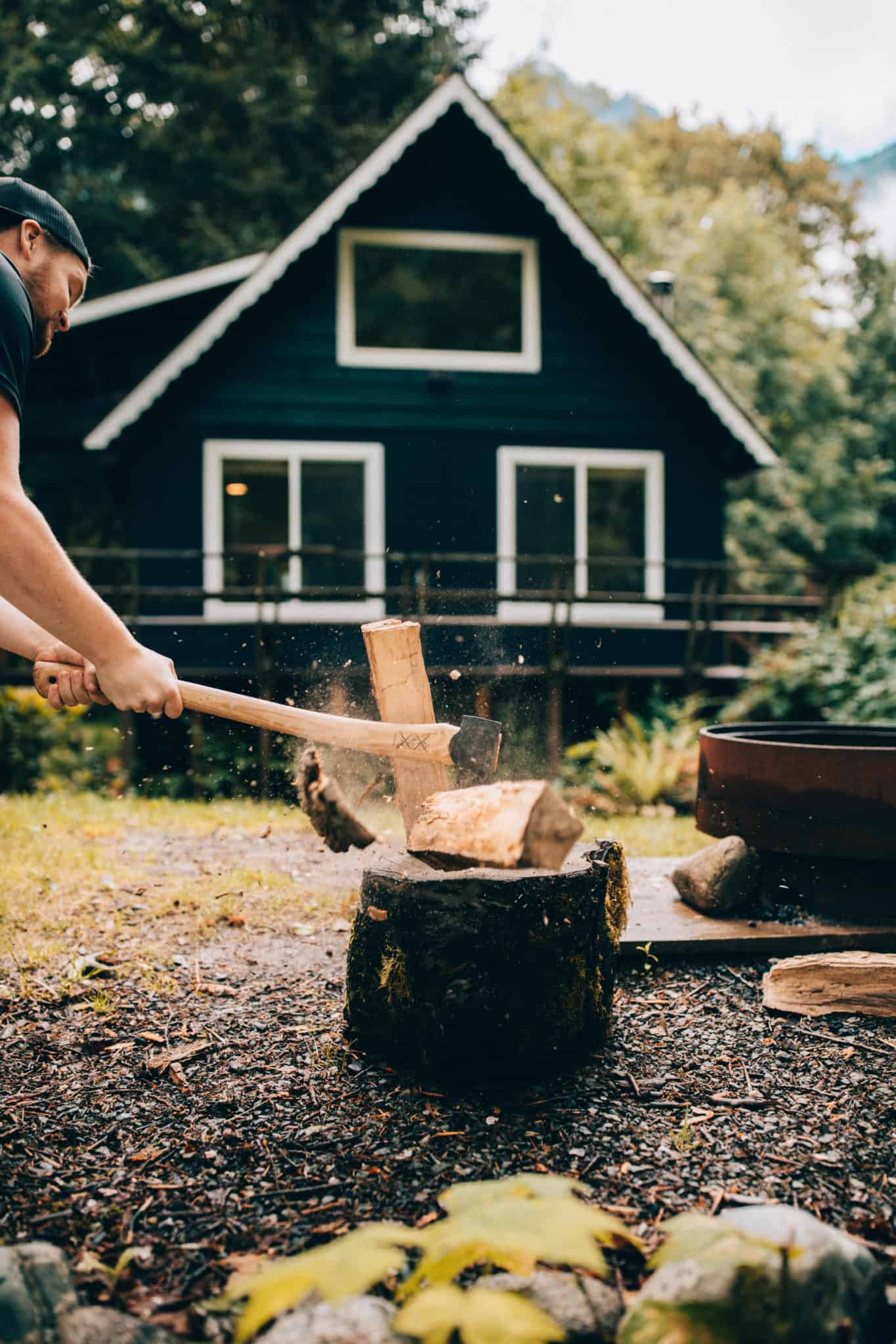 South Fork Cabin - Cameron chopping wood - TheMandagies.com