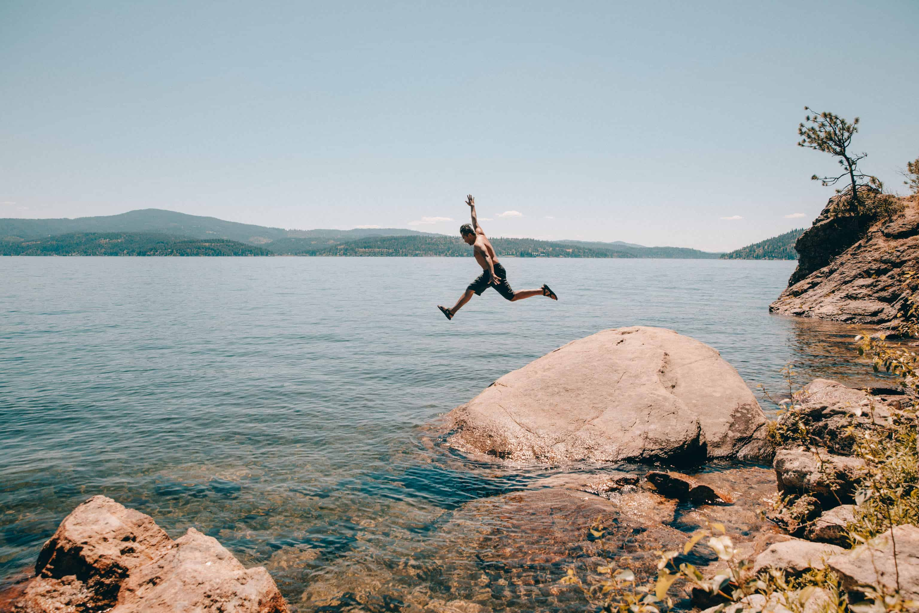 Jumping in the lake at Tubbs Hill Coeur d'Alene, Idaho - TheMandagies.com