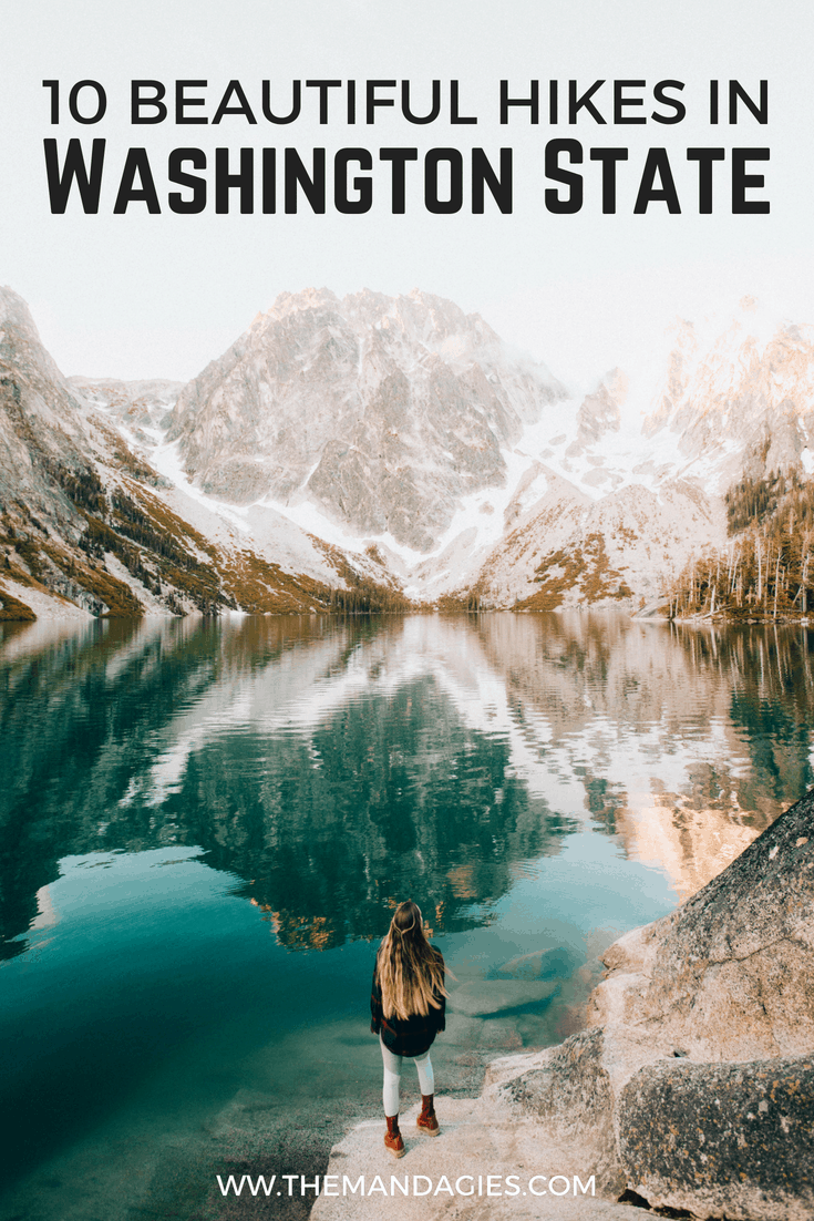 Hikes in Washington state are among the best in the nation! We're sharing forest covered trails, beach walks, stunning views, and opportunities to get outside and explore the Pacific Northwest. Save this list for your next PNW adventure! #hiking #washington #PNW #PacificNorthwest #trails #mountain #outdoors #lake #friends #travel #adventure #pacific #westcoast