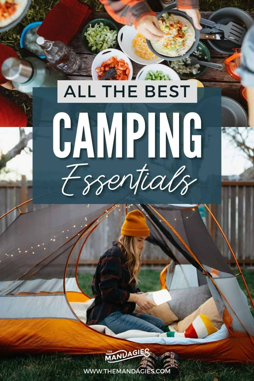 Looking for a no-fuss camping checklist? We're sharing all the camping essentials that we bring and love, proven over countless camping trips and day trips! We're sharing all the essentials for camping, including tents, camping stoves, coolers, camping chairs, and more fun items! Save this post for your next camping trip! #camping #campingessentials #campingpackinglist #packinglist #packing #campground #USA #roadtrip