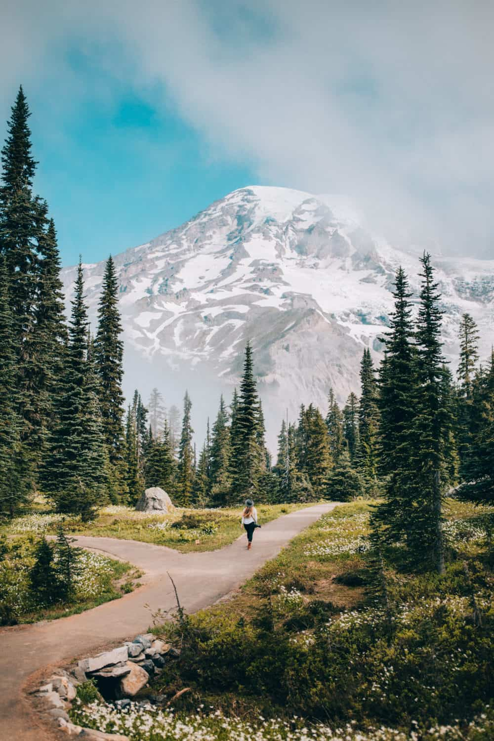Emily Mandagie hiking at Mount Rainier National Park - Best Weekend Getaways From Seattle - TheMandagies.com