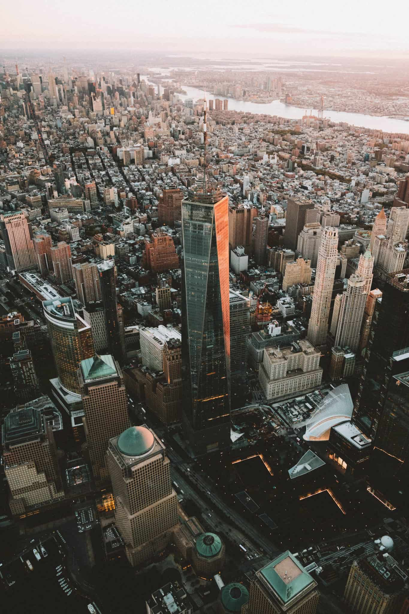 Freedom tower, aerial photography from doors off helicopter flight in NYC