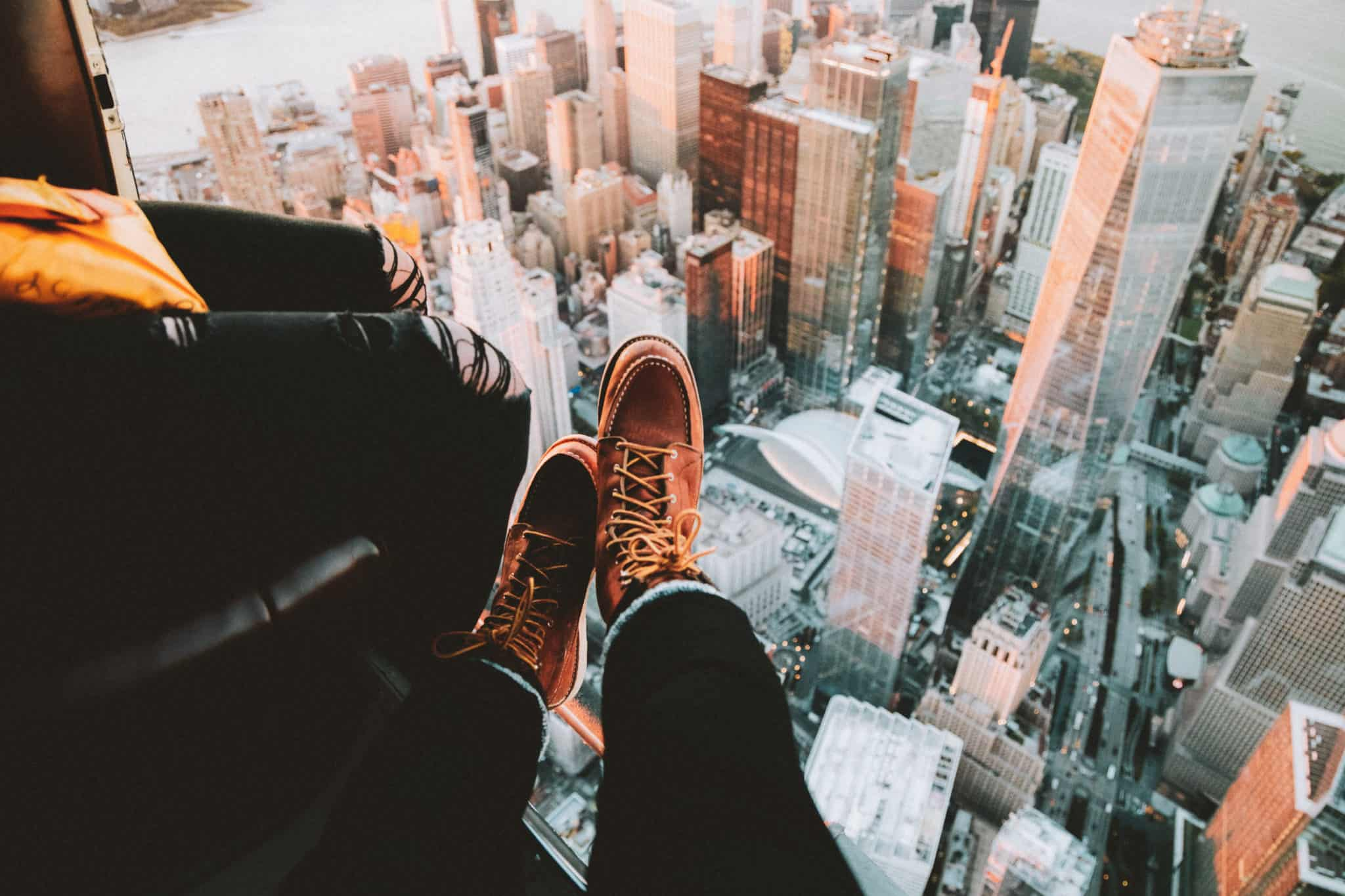 Red Wing Heritage Boots over New York Skyline in Helicopter