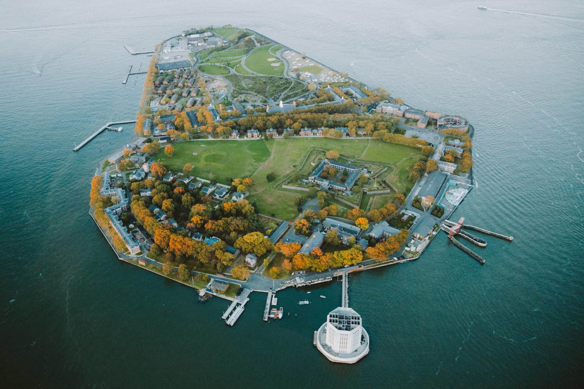 Governor's Island from doors off helicopter flight in NYC