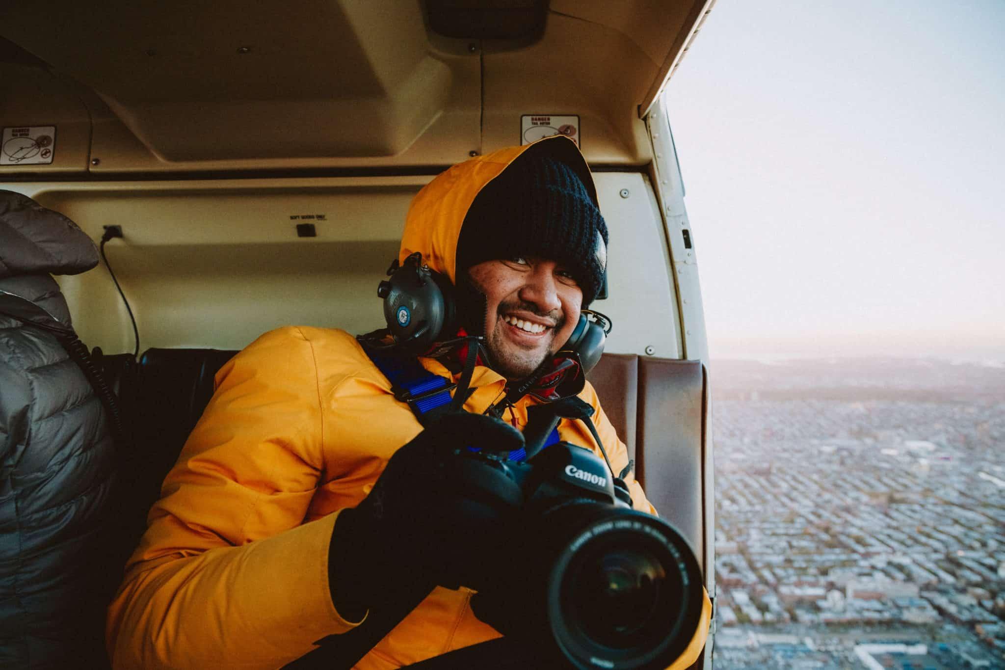 Berty Mandagie in Doors off helicopter flight in NYC