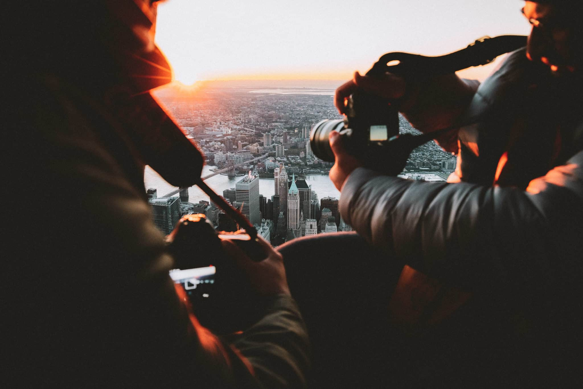 Aerial Photography during sunrise over NYC