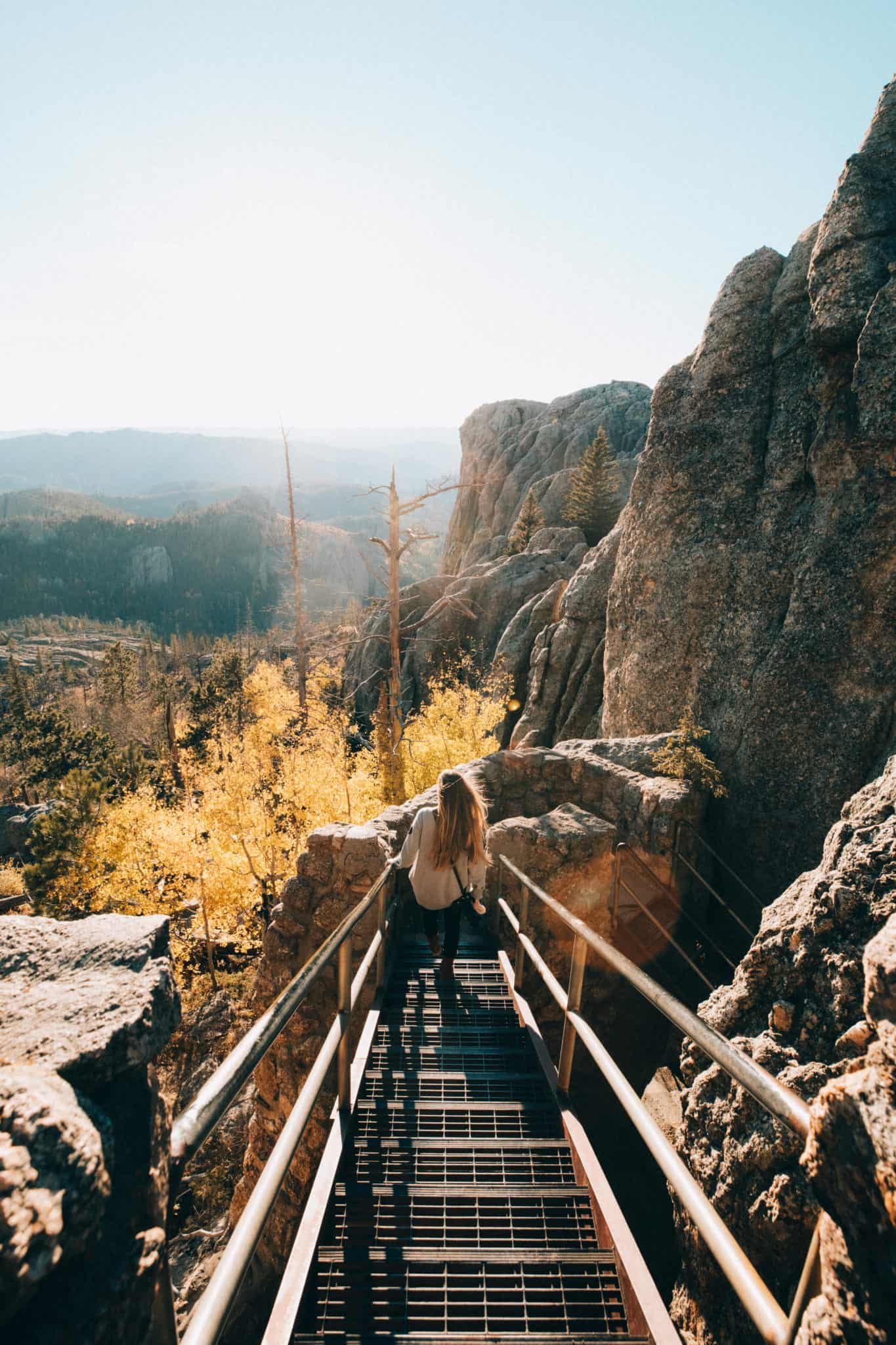 Emily walking stairs, Black Elk Peak South Dakota