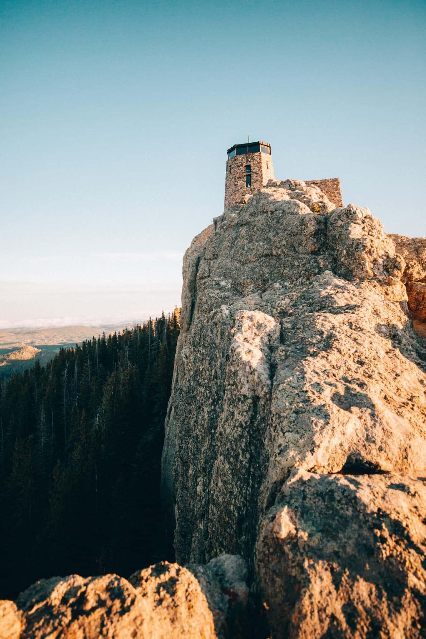 Fire Lookout summit view at Black Elk Peak Trail, South Dakota