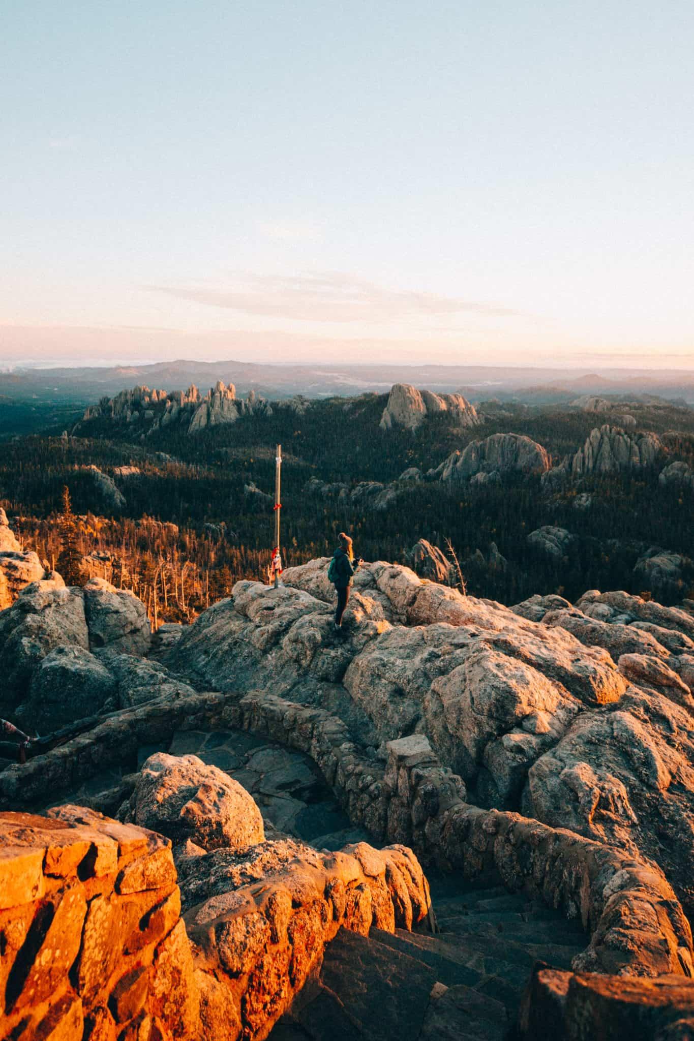 Stephanie Palmer with Black Elk Peak trail sunset view
