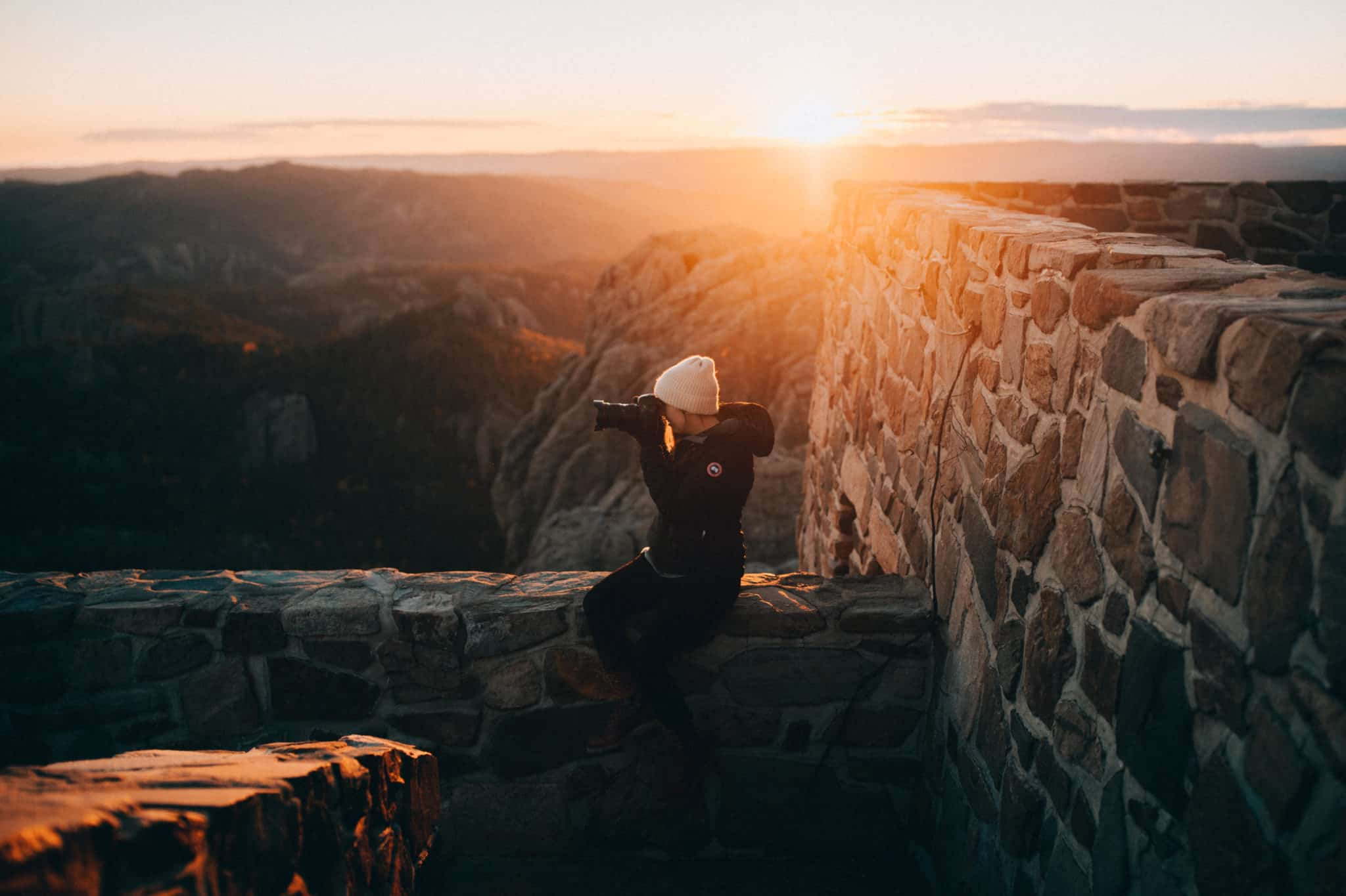 Emily at sunset on Black Elk Peak, South Dakota