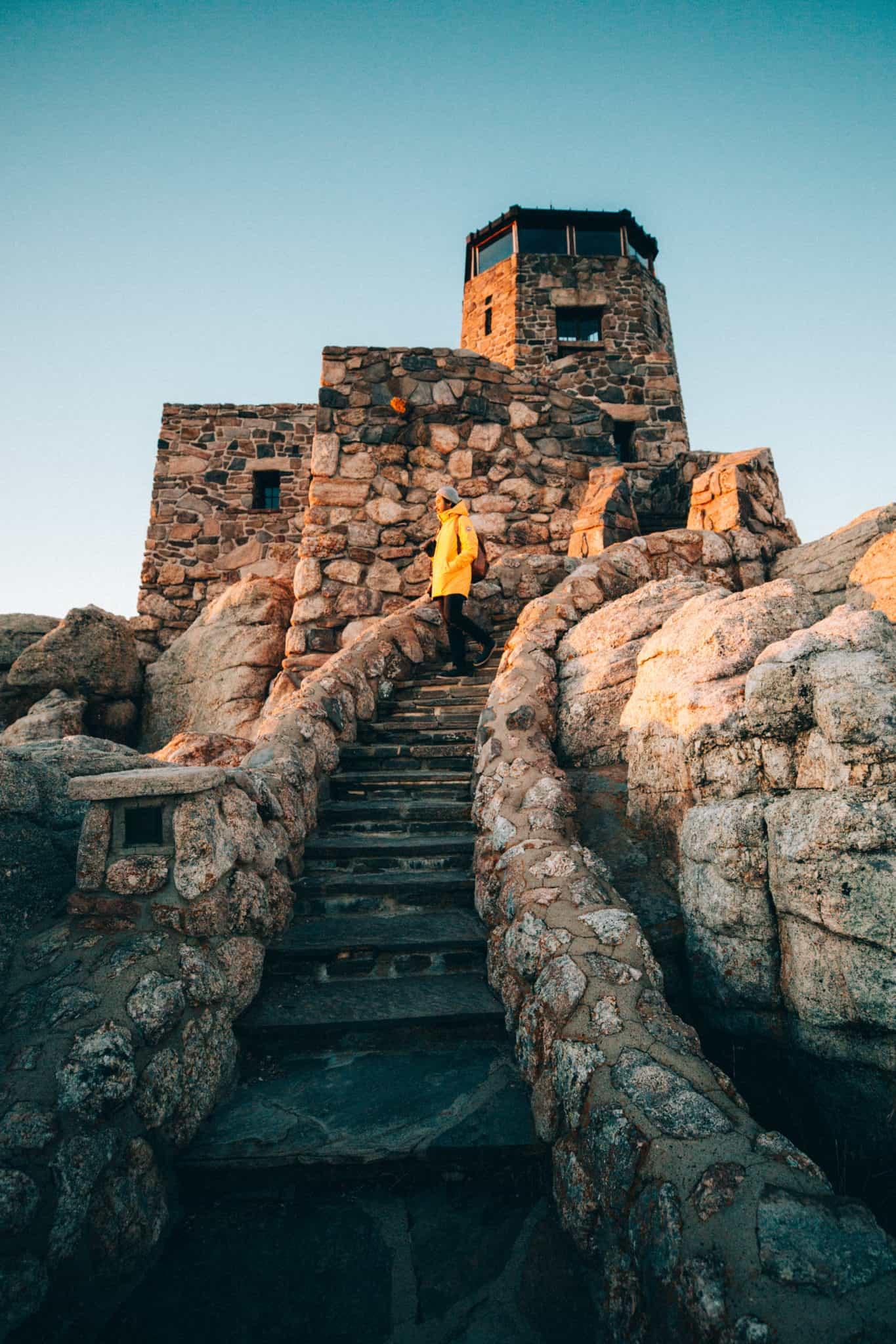 Berty Mandagie at Fire Tower at Black Elk Peak Summit, South Dakota