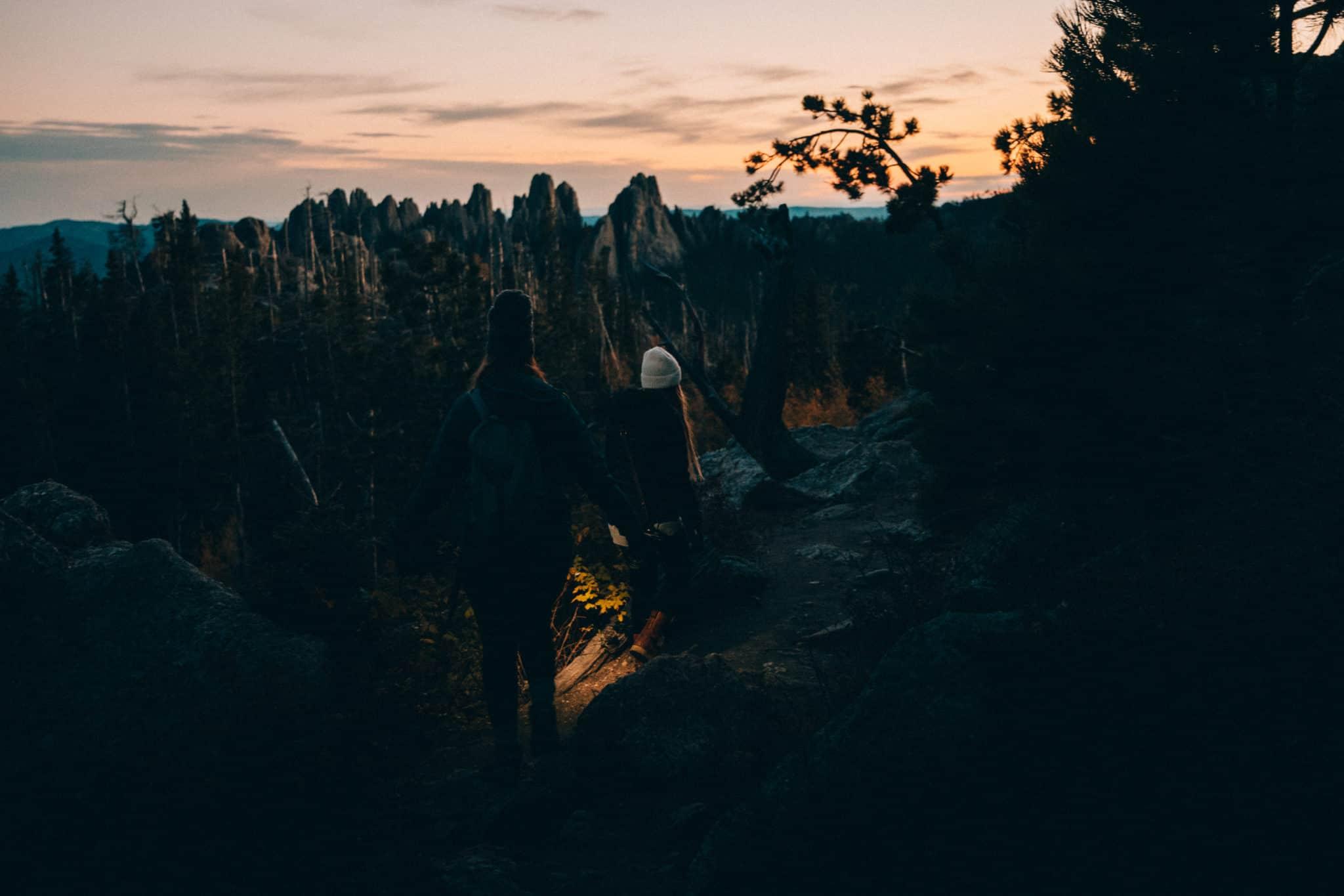 Descending Black Elk Trail after sunset in the dark