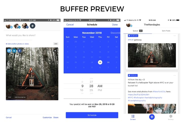 Buffer example for mobile content scheduling tools