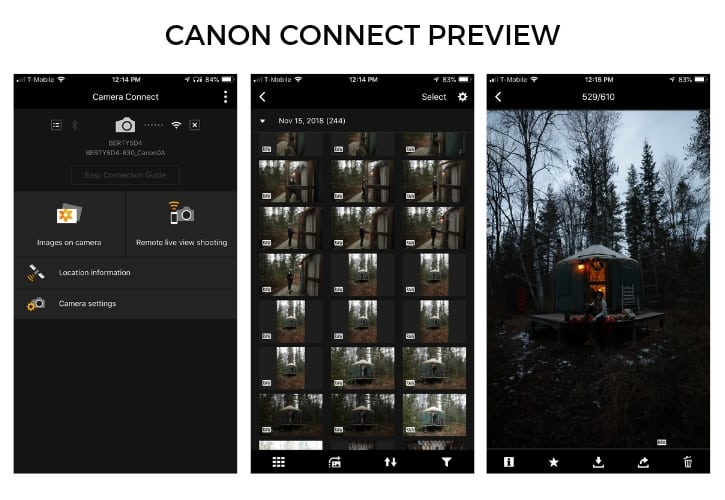 CanonConnect mobile app display for photo editing