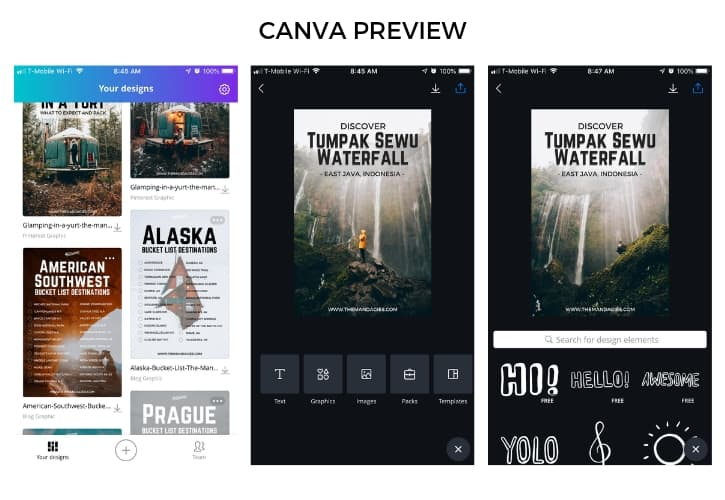 Canva display example for mobile editing apps