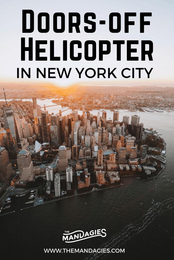 Want to impress all your Insta friends on your latest vacation? Explore New York City in the sky....on a doors off helicopter flight above NYC! You've never seen New York like this! Get the best aerial photos from the sky. Read all about it here... #NYC #NewYorkCity #sunrise #aerialphotography #manhattan #skyline #brooklynbridge #Instagram #Photography #Travel #helicopter #doorsoff #themandagies