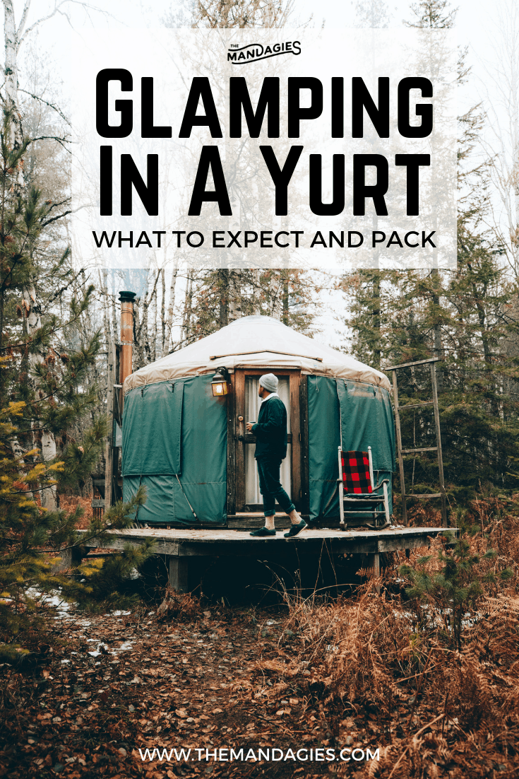 Want to experience the great outdoors, even in the winter? Read all about glamping in a yurt! It's got all the comforts of home with all the benefits of experiencing nature in this luxury way to camp. Save this post for your next outdoor adventure! #Yurt #luxurytent #outdoors #glamping #camping #backcountry #airbnb #Instagram #Photography #Travel #yurtrental #northidaho #themandagies
