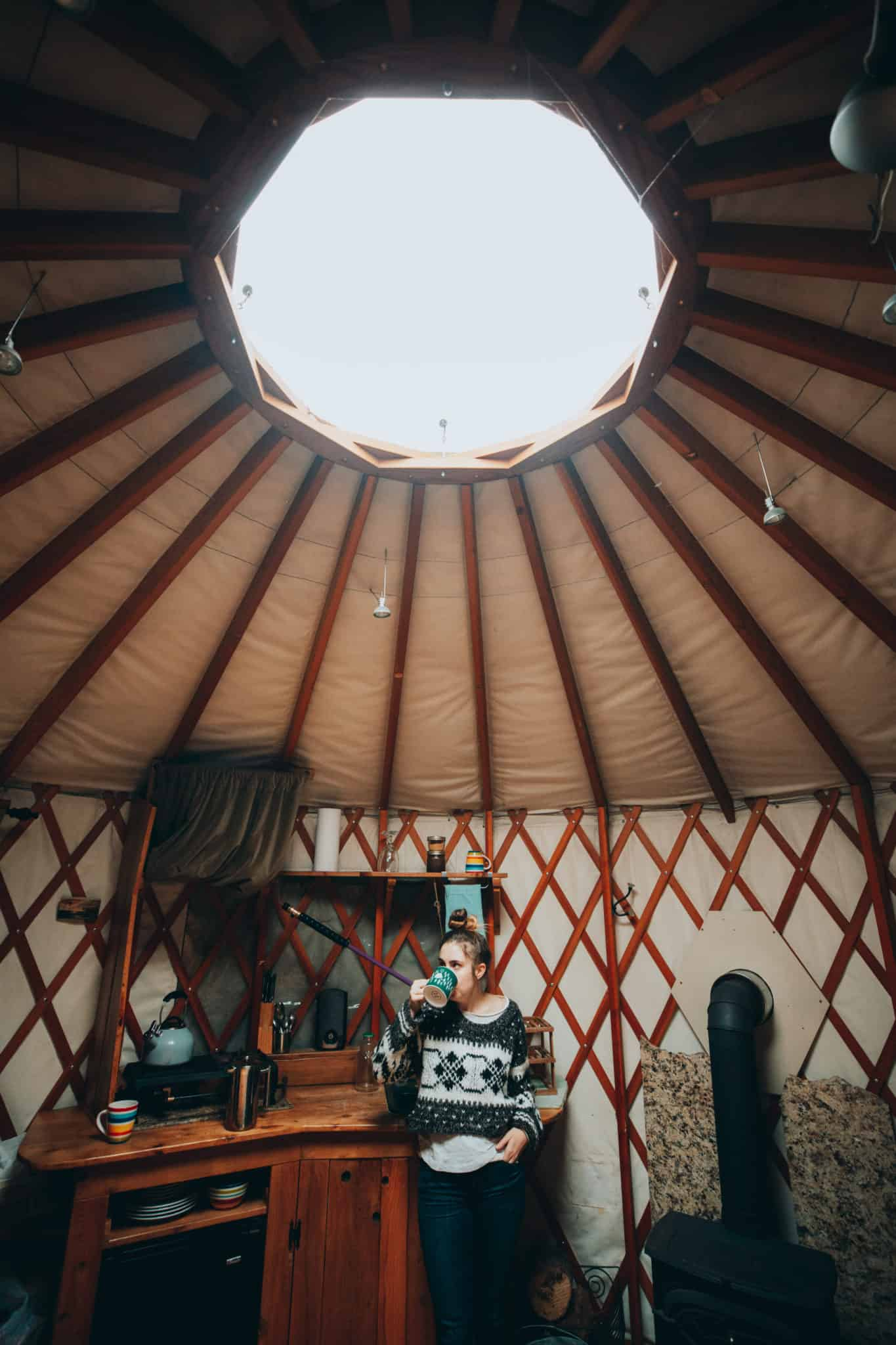 interior of yurt in north idaho
