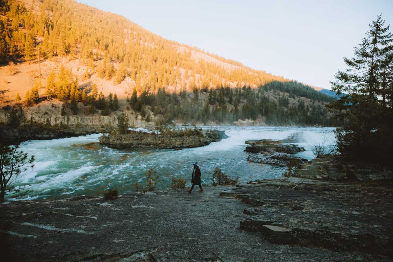 Emily Mandagie walking next to Kootenai Falls, Libby Montana - TheMandagies.com