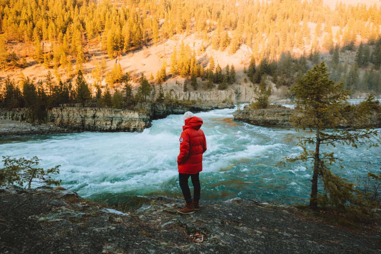 Berty Mandagie standing next to Kootenai Falls, Libby, MT - TheMandagies.com