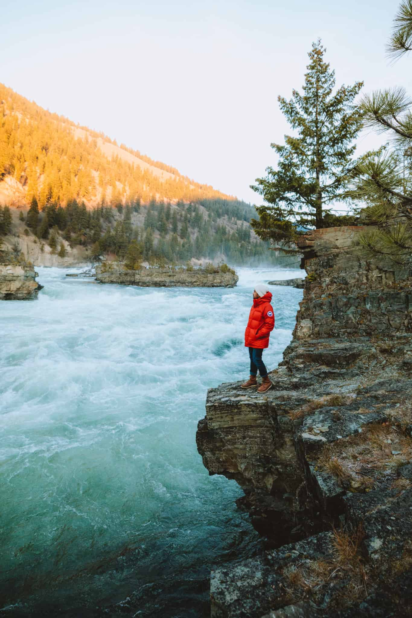 Berty Mandagie standing next to Kootenai Falls, Libby Montana - TheMandagies.com