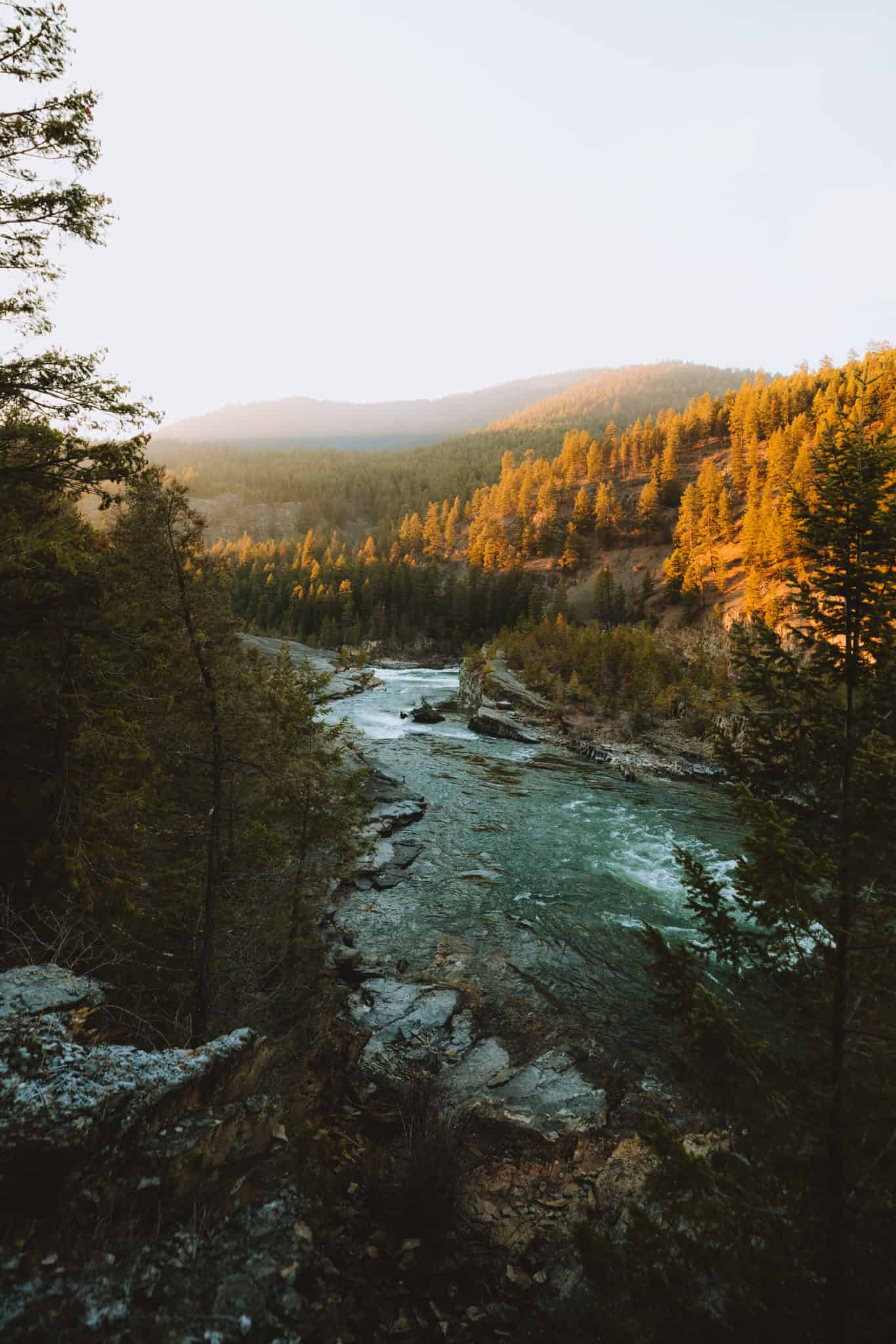 View of Kootenai River from Kootenai Falls Swinging Bridge - TheMandagies.com