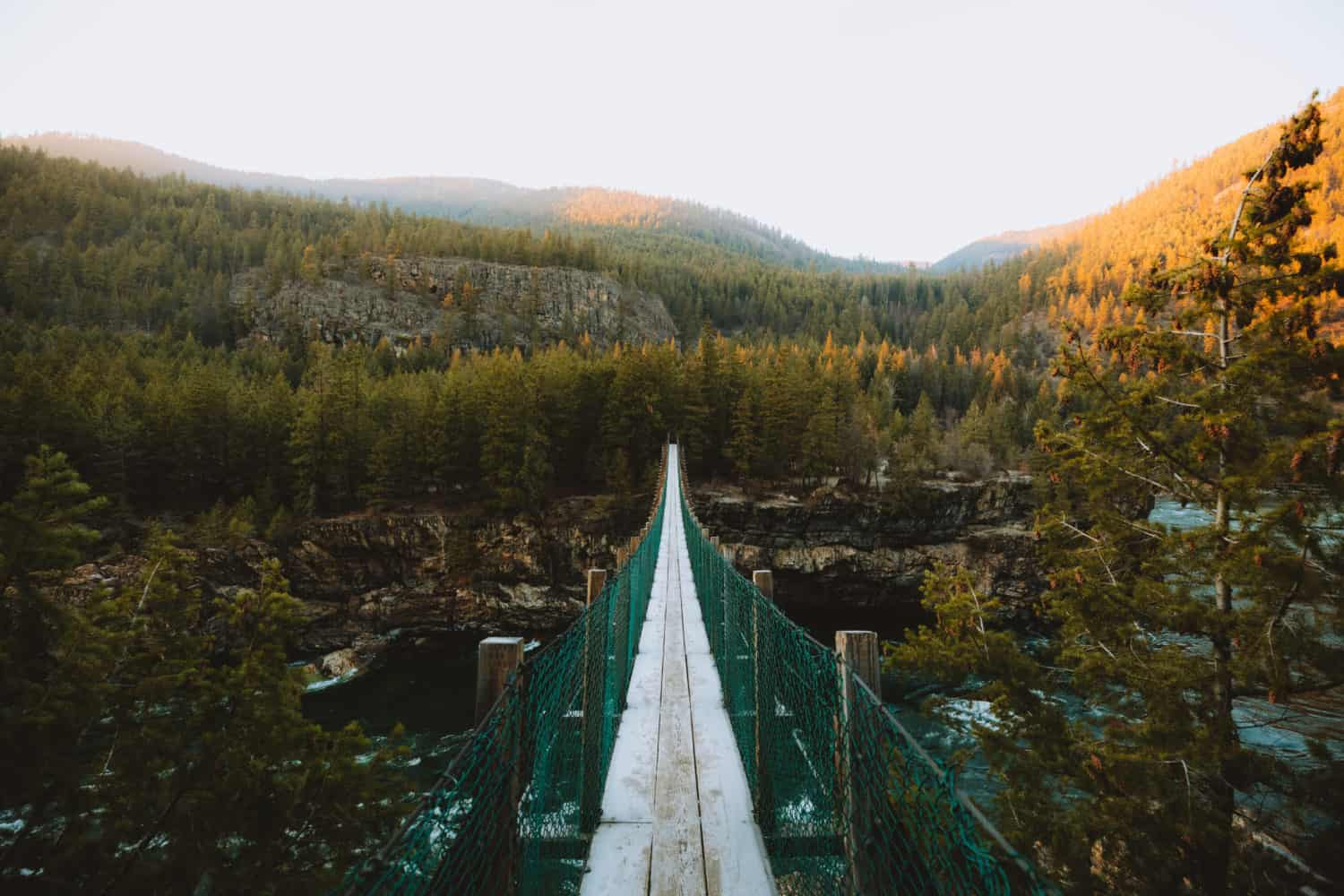 View of Kootenai Falls Swinging Bridge -Libby, Montana - TheMandagies.com