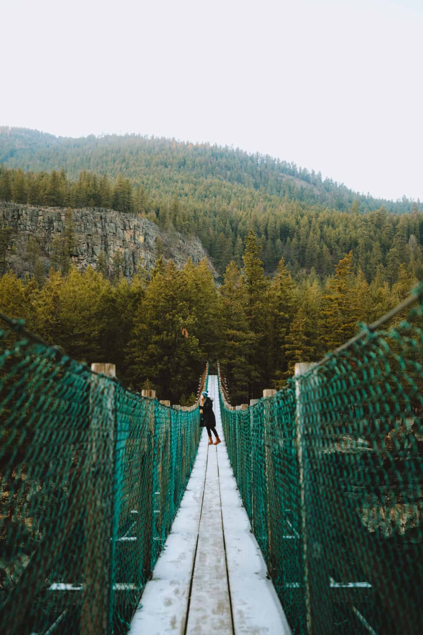 Emily Mandagie looking over Kootenai Falls Swinging Bridge