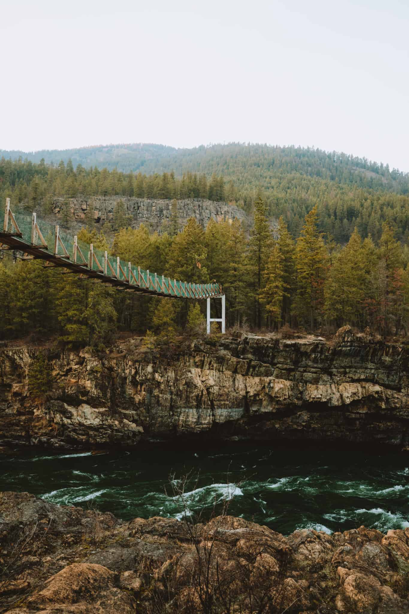 Kootenai Falls Swinging Bridge view from below