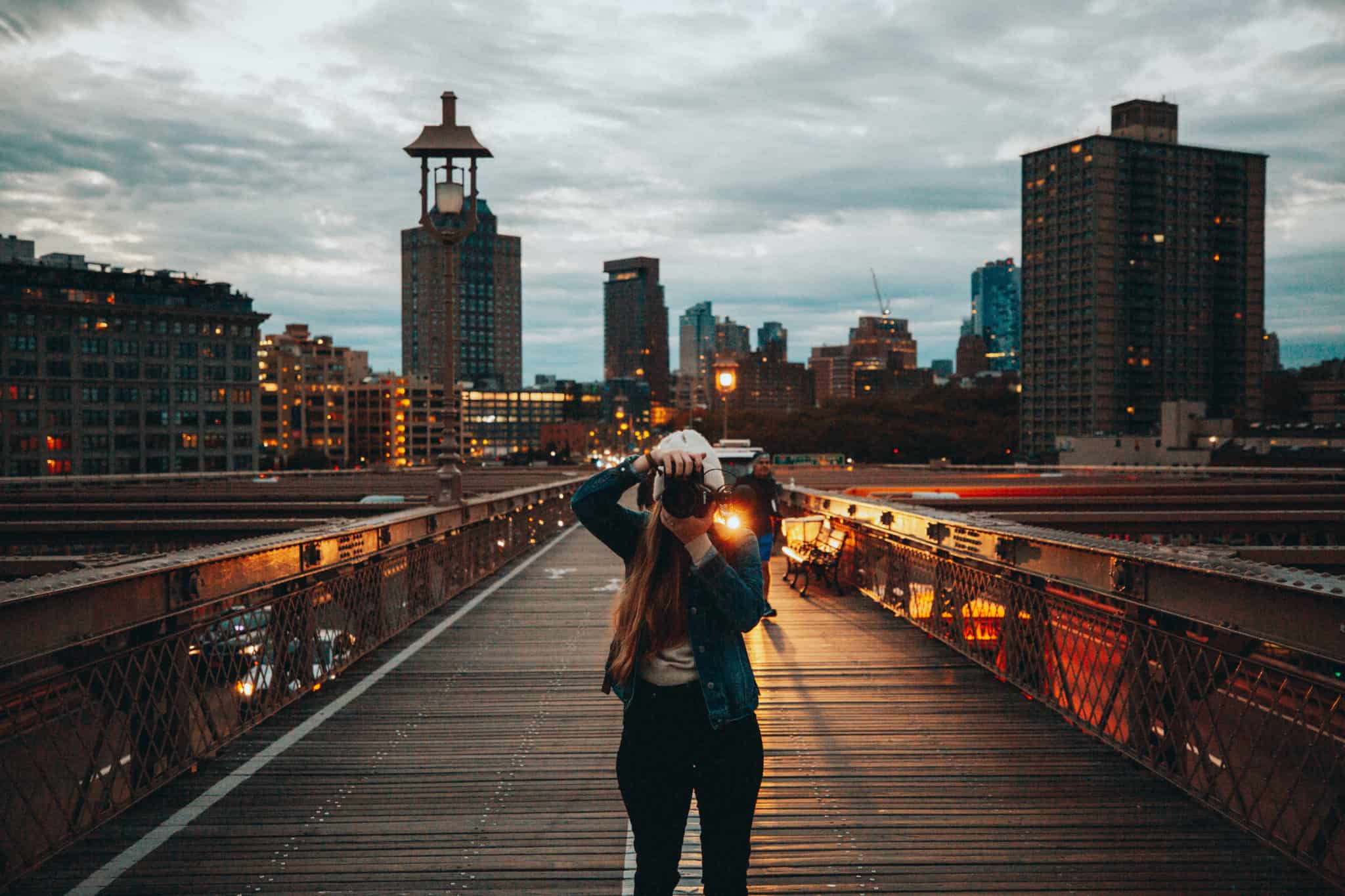 Emily at Brooklyn Bridge at Dawn - Photo Spots In NYC