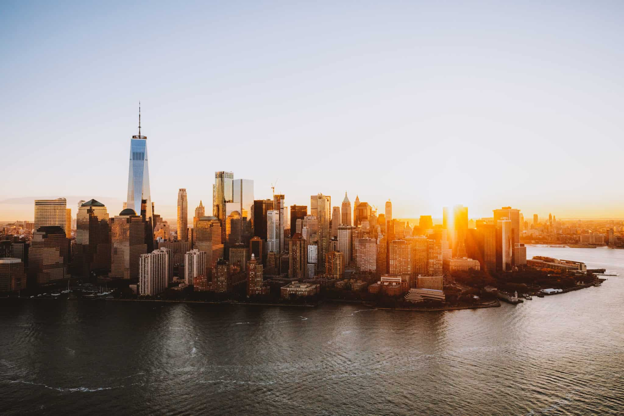 Sunrise over Manhattan Skyline - aerial photography