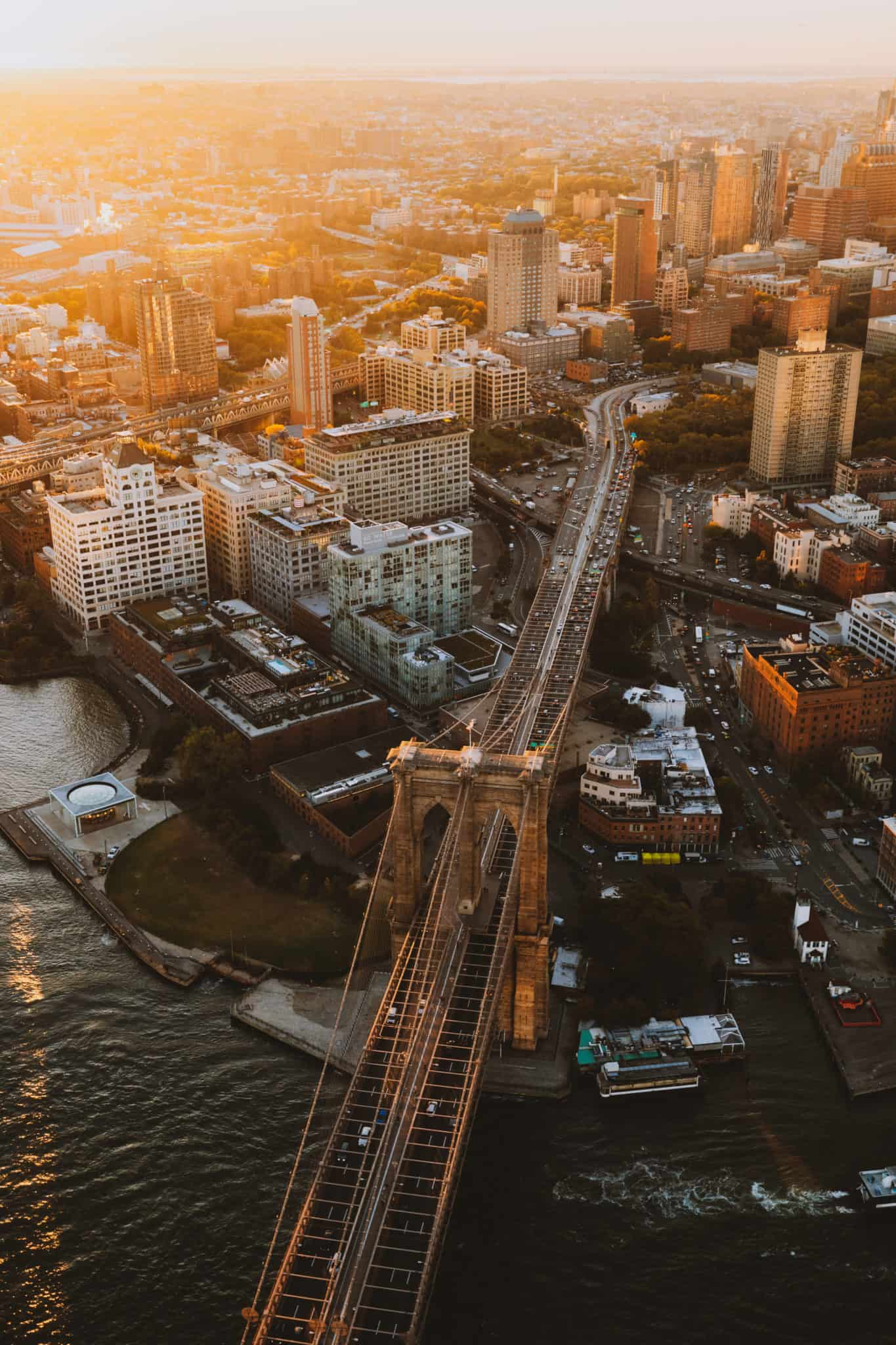 Aerial photography of Brooklyn Bridge in NYC sunrise