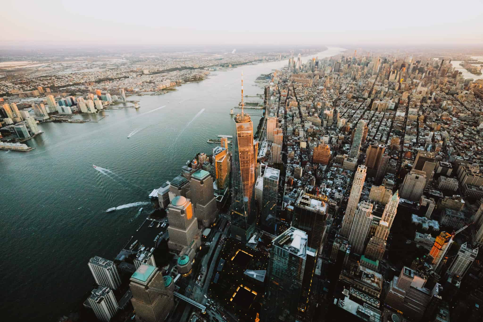 Aerial photography of Skyline of West Manhattan NYC