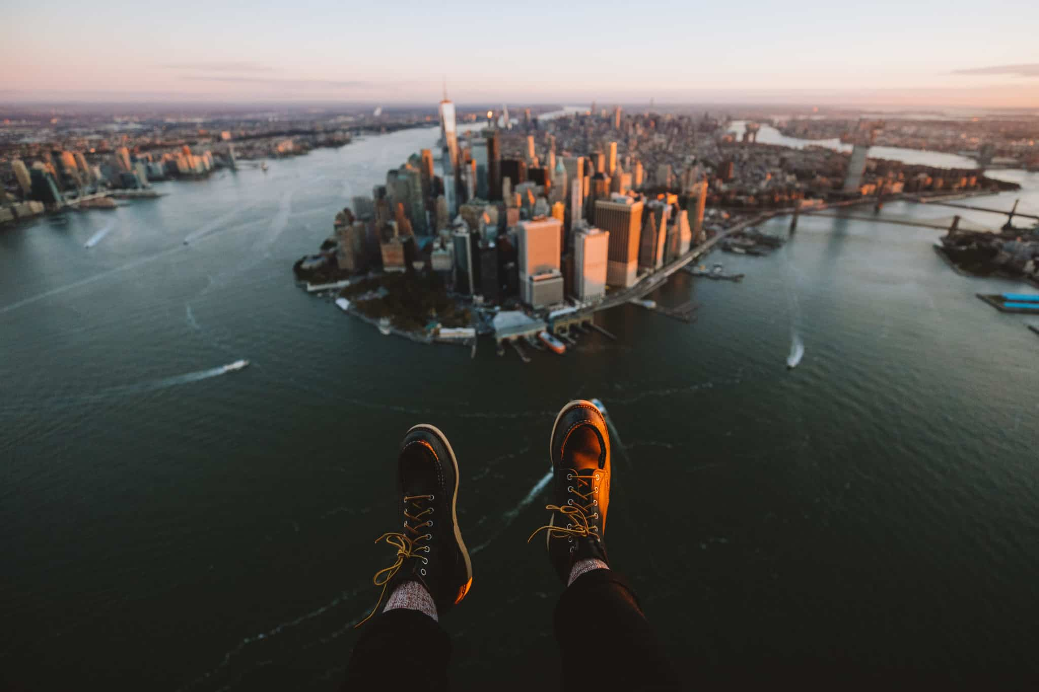 Berty Mandagie Red Wing Heritage Boots over Lower Manhattan NYC