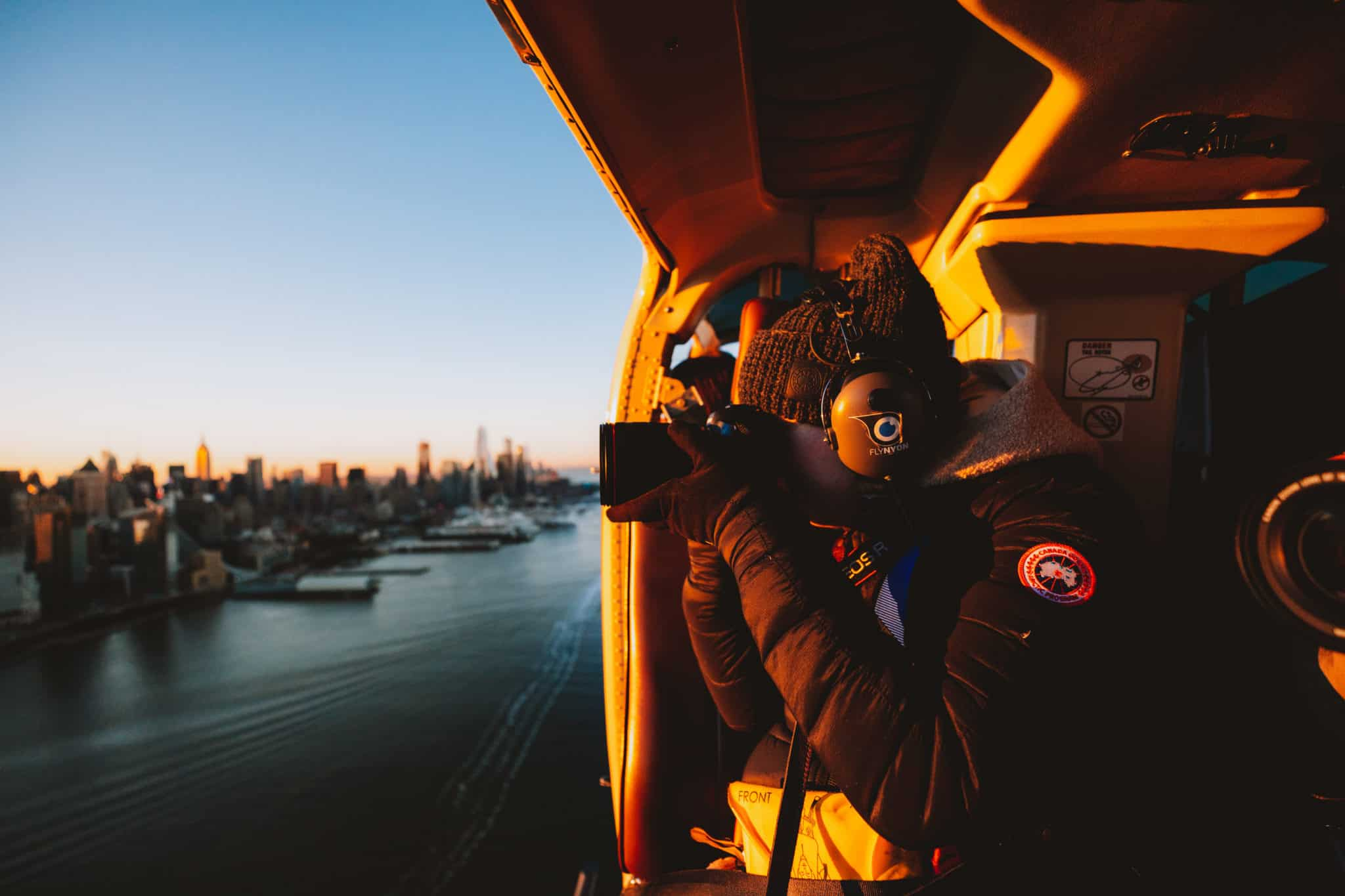 Emily Mandagie shooting Canon EOS R above NYC