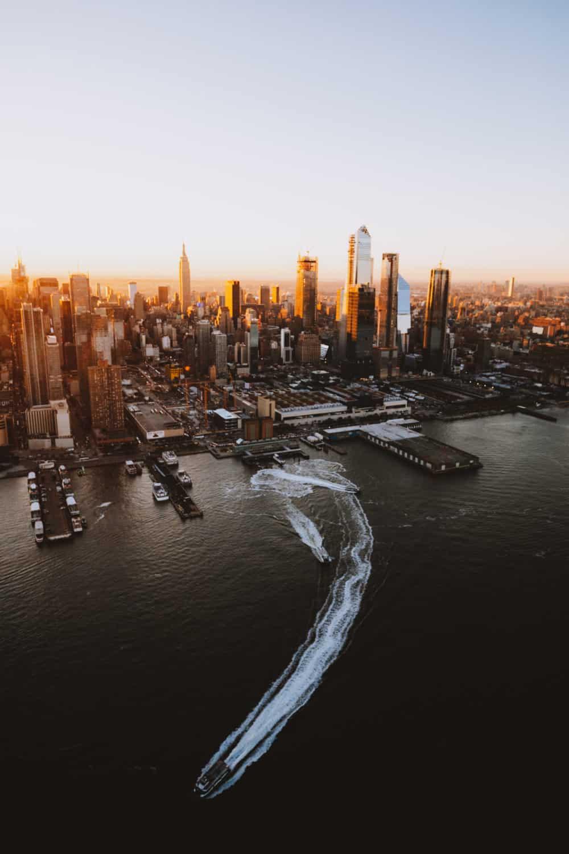 Aerial photography of sunrise Hudson River and Manhattan Skyline