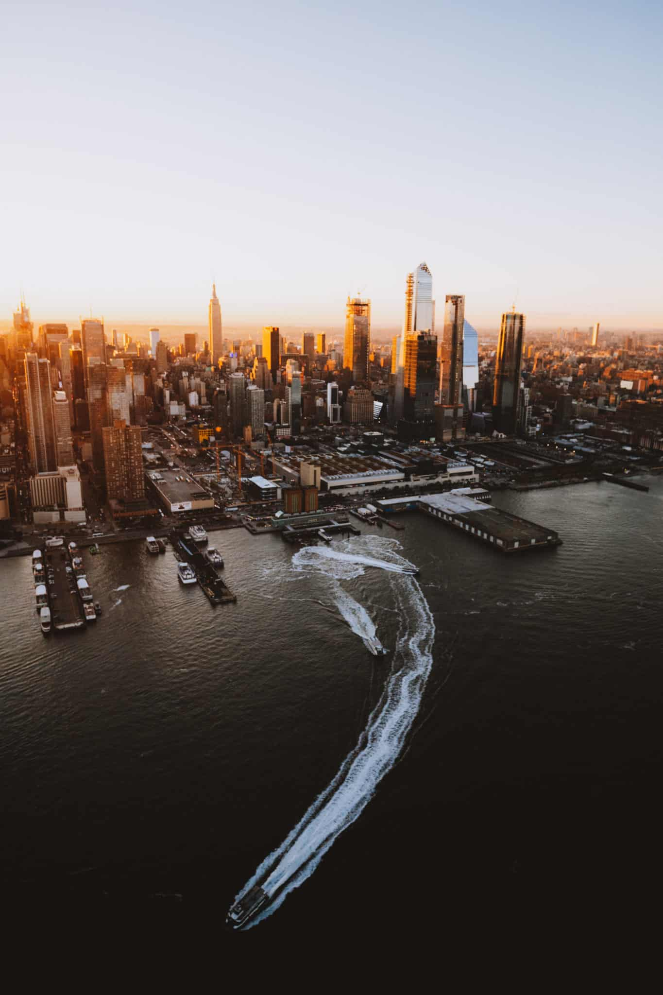 Aerial photography of sunrise Hudson River and Manhattan Skyline