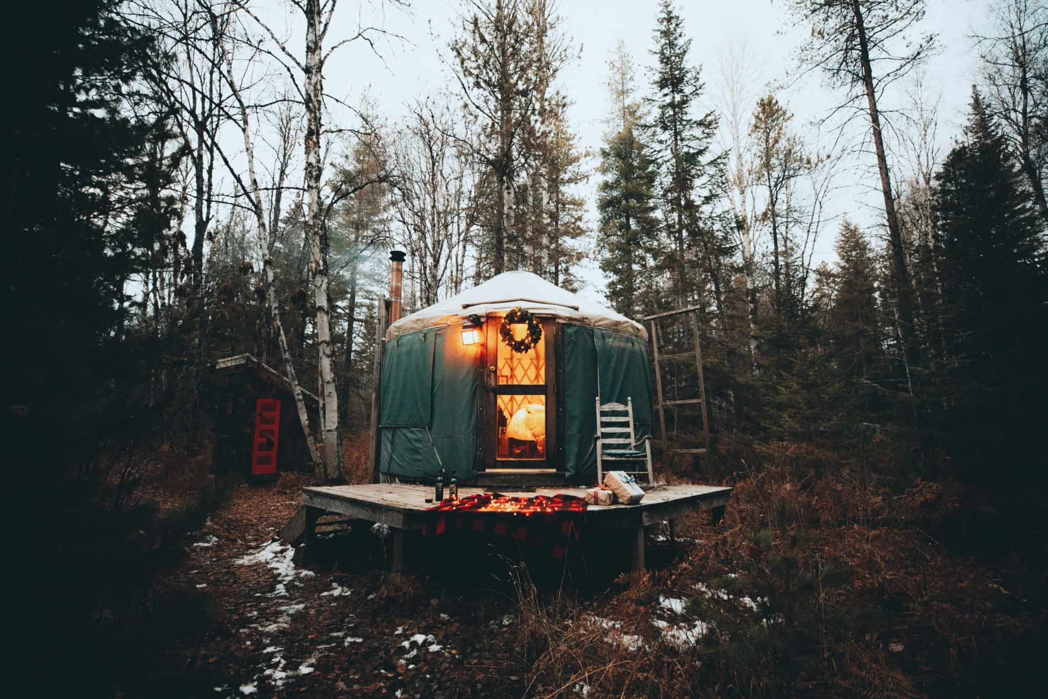 Glamping in a yurt during the holidays