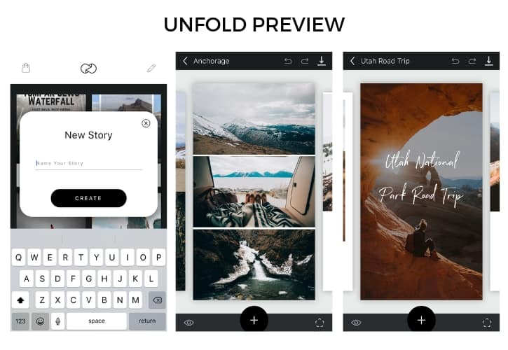 Unfold example for instagram story creating