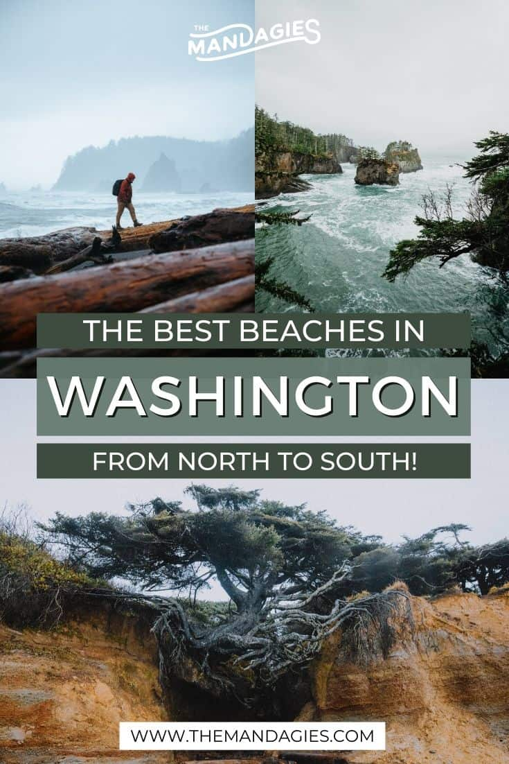 Love the ocean, and live in the Pacific Northwest? We're sharing the best beaches in Washington State to explore this weekend, including best activities and cool features of all of them! Save this post for your next Washington Beaches trip, and maybe even make it a road trip around the Olympic Peninsula! #rialtobeach #Capeflattery #washingtonstate #washington #oceanshores #lapush #olympicnationalpark #olympicpeninsula #PNW #pacificnorthwest