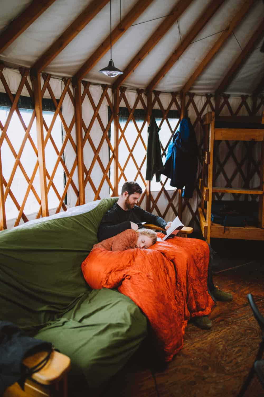 relaxing in the backcountry yurt