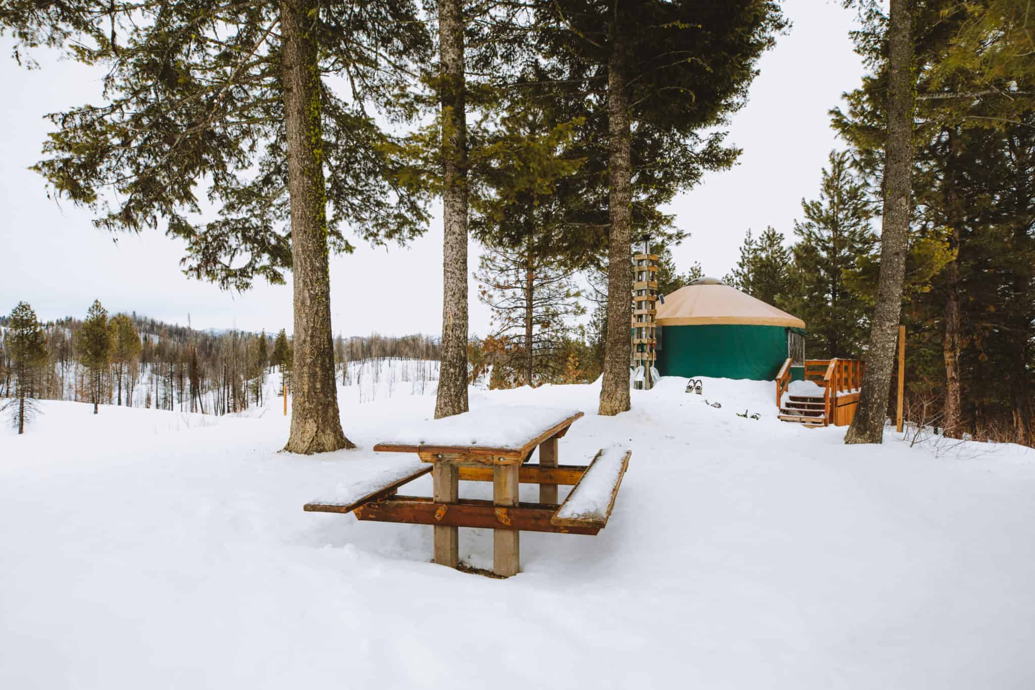 Idaho City yurt picnic table