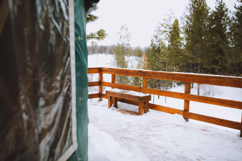 shoveled yurt deck