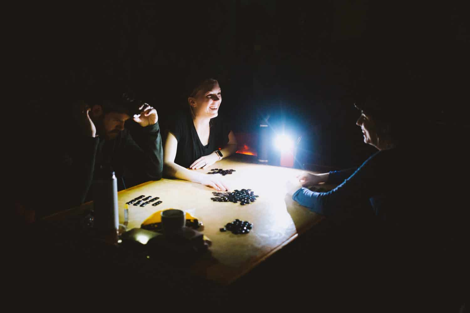 playing games by headlamps