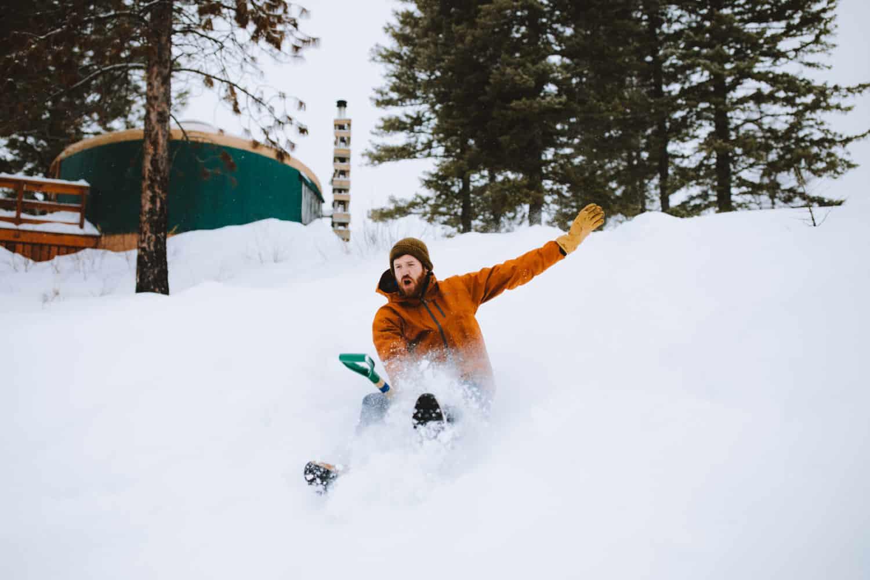sledding while winter yurt camping