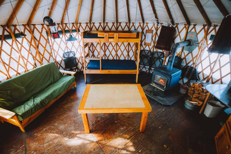 Interior of Skyline Yurt, Idaho City