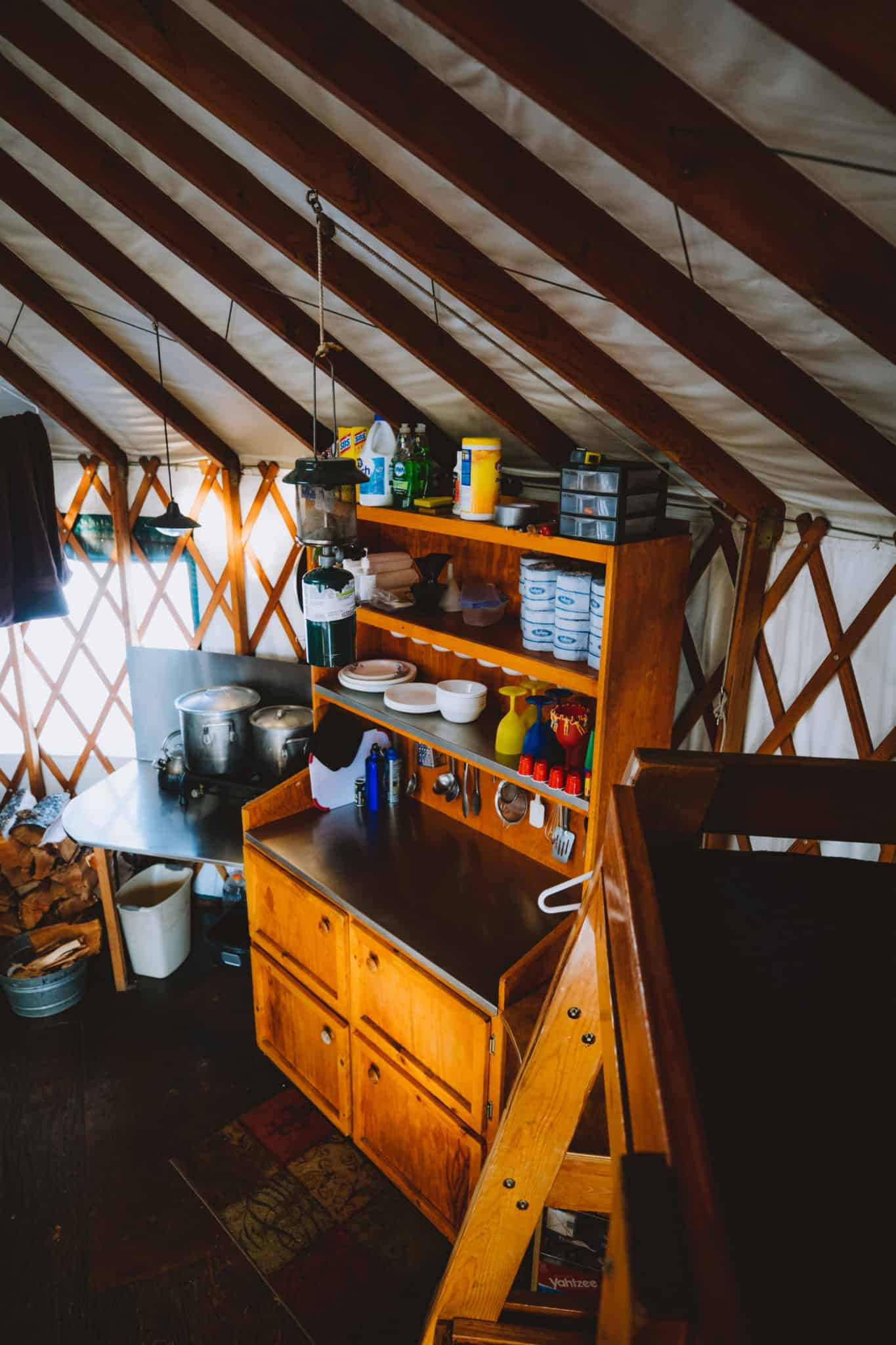 view of kitchen area when yurt camping