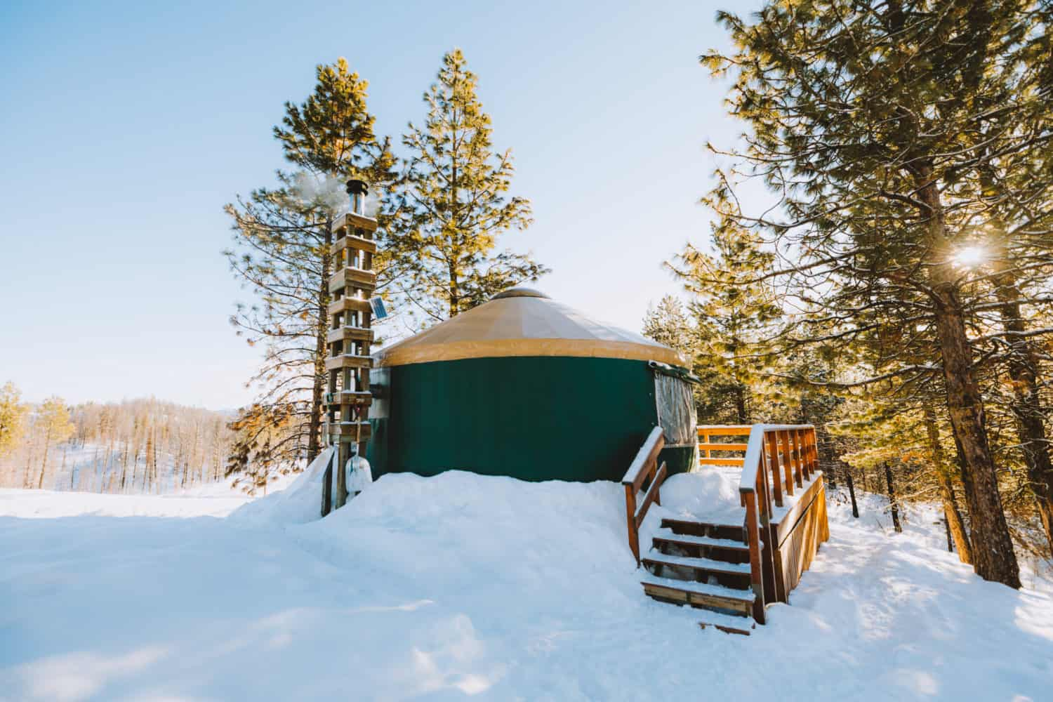 exterior view of Skyline yurt with shovels