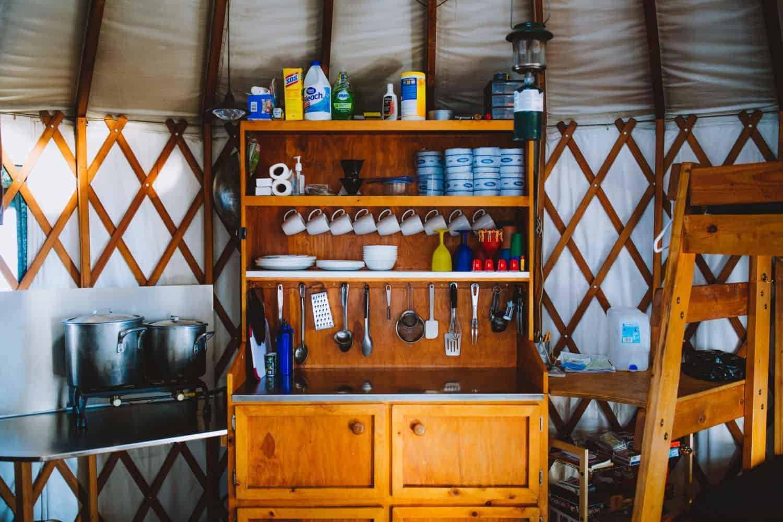 """Kitchen"" of Skyline Yurt, Idaho City"