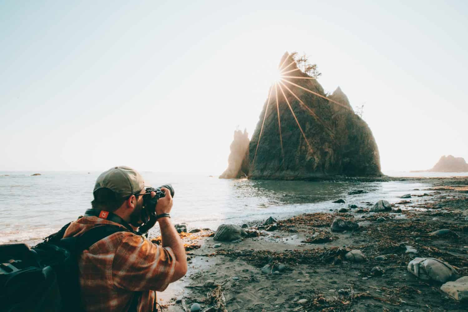 Michael Hollender photographing Rialto Beach, Olympic National Park